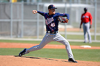 Minnesota Twins pitcher Jose Berrios #41 during a minor league Spring Training game against the Boston Red Sox at JetBlue Park Training Complex on March 27, 2013 in Fort Myers, Florida.  (Mike Janes/Four Seam Images)