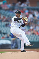 Charlotte Knights starting pitcher Hector Santiago (24) in action against the Durham Bulls at BB&T BallPark on July 31, 2019 in Charlotte, North Carolina. The Knights defeated the Bulls 9-6. (Brian Westerholt/Four Seam Images)