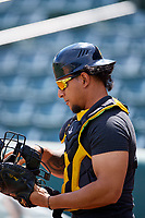 Jose Briceno (10) of the Salt Lake Bees before the game against the Albuquerque Isotopes at Smith's Ballpark on April 27, 2019 in Salt Lake City, Utah. The Isotopes defeated the Bees 10-7. This was a makeup game from April 26, 2019 that was cancelled due to rain. (Stephen Smith/Four Seam Images)