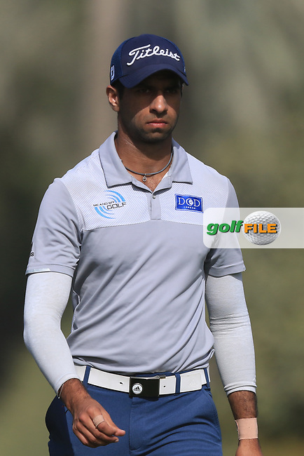 Aaron Rai (ENG) on the 3rd during Round 3 of the Omega Dubai Desert Classic, Emirates Golf Club, Dubai,  United Arab Emirates. 26/01/2019<br /> Picture: Golffile | Thos Caffrey<br /> <br /> <br /> All photo usage must carry mandatory copyright credit (&copy; Golffile | Thos Caffrey)