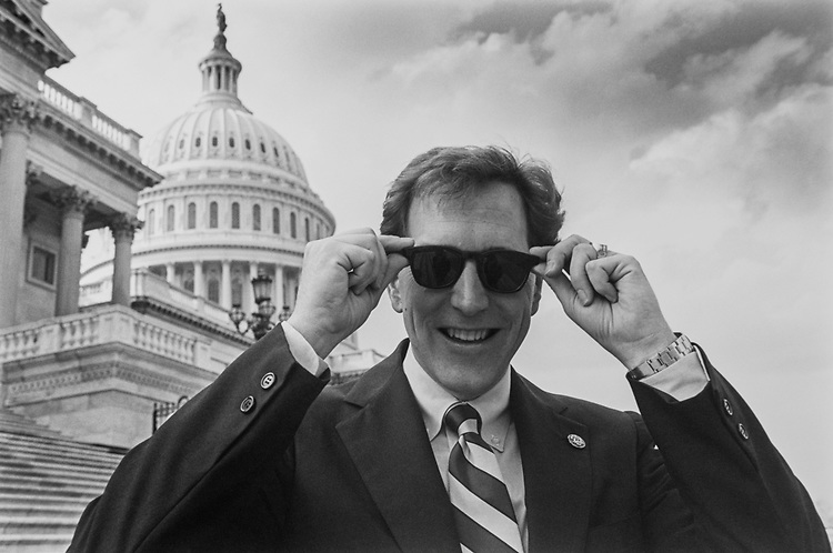 Rep. Dave Camp, R-Mich., with shades enjoying spring weather, on April 5, 1993. (Photo by Laura Patterson/CQ Roll Call via Getty Images)