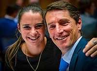 Den Bosch, The Netherlands, Februari 07 2019,  Maaspoort , FedCup  Netherlands - Canada, official dinner, Dutch table Bibiane Schoofs with captain Paul Haarhuis<br /> Photo: Tennisimages/Henk Koster