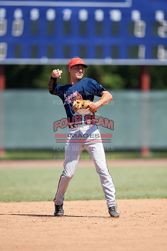 Atlanta Braves AJ Graffanino (81) throws to first base during a Florida Instructional League game against the Philadelphia Phillies on October 5, 2018 at the Carpenter Complex in Clearwater, Florida.  (Mike Janes/Four Seam Images)