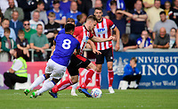 Lincoln City's Michael O'Connor vies for possession with Sheffield Wednesday's Joey Pelupessy<br /> <br /> Photographer Chris Vaughan/CameraSport<br /> <br /> Football Pre-Season Friendly - Lincoln City v Sheffield Wednesday - Saturday July 13th 2019 - Sincil Bank - Lincoln<br /> <br /> World Copyright © 2019 CameraSport. All rights reserved. 43 Linden Ave. Countesthorpe. Leicester. England. LE8 5PG - Tel: +44 (0) 116 277 4147 - admin@camerasport.com - www.camerasport.com