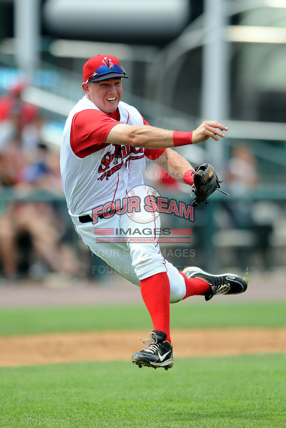 Lowell Spinners infielder Kevin Mager #16 during a game versus the Vermont Lake Monsters at LeLacheur Park In Lowell, Massachusetts on June 30, 2013. (Ken Babbitt/Four Seam Images)
