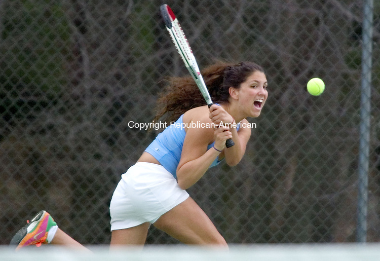 BURLINGTON, CT. 25 April 2006--042506SV07--Sammy Regenbogen of Litchfield High returns a ball during her match with Carlie Bentley of Lewis Mills during a tennis match in Burlington Tuesday. Steven Valenti Republican-American