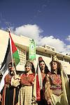 Christmas in Bethlehem, Palestinian girls in traditional dresses in Manger Square