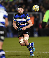 Elliott Stooke of Bath Rugby receives the ball. Aviva Premiership match, between Bath Rugby and Northampton Saints on February 9, 2018 at the Recreation Ground in Bath, England. Photo by: Patrick Khachfe / Onside Images