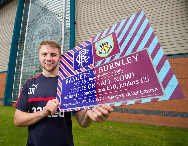 Jordan Rossiter promoting ticket sales for Rangers home friendly match with Burnley
