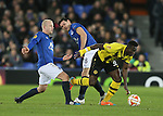 Sequoia Sanogo Juniorof BSC Young Boys gets away from Steven Naismith and Gareth Barry of Everton - UEFA Europa League Round of 32 Second Leg - Everton vs Young Boys - Goodison Park Stadium - Liverpool - England - 26th February 2015 - Picture Simon Bellis/Sportimage