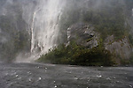 Waterfall in Doubtful Sound. Fiordland National Park. New Zealand.