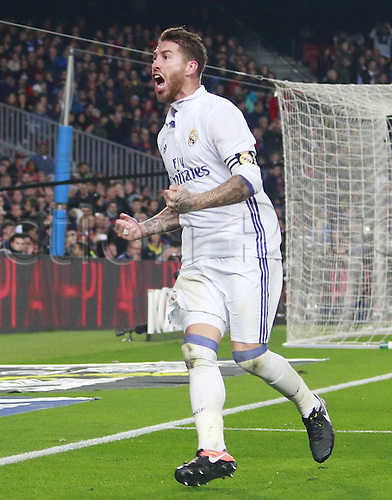03.12.2016 Nou Camp, Barcelona, Spain.  La Liga football.  Sergio Ramos celebrates equalising in the 90th minute for 1-1 during the game between  Barcelona and Real Madrid at Camp Nou