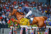 AUS-Rowan Willis rides Blue Movie during Round B of the FEI World Individual Jumping Championship. 2018 FEI World Equestrian Games Tryon. Sunday 23 September. Copyright Photo: Libby Law Photography