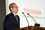 June 23, 2017, Tokyo, Japan - Japan's troubled Toshiba president Satoshi Tsunakawa speaks before press at the company's headquarters in Tokyo on Friday, June 23, 2017. Toshiba asked authority to extend a deadline to submit its annual financial report until August 10. Toshiba's stock will be transferred from the first section to the second section at the Tokyo and Nagoya Stock Exchange from August 1.   (Photo by Yoshio Tsunoda/AFLO) LwX -ytd-