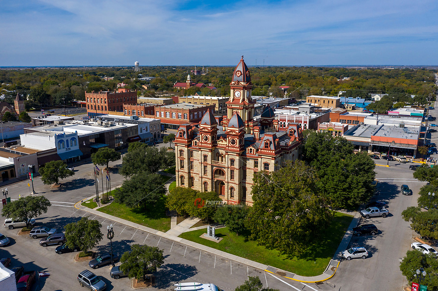 Beautiful panoramic aerial view of the Caldwell County Courthouse Lockhart, Texas. The Caldwell County Courthouse is a historic courthouse located in Lockhart, Texas on Colorado Street in the downtown square.