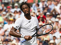Gael Monfils (15) of France celebrates his victory against Kyle Edmund of Great Britain in their Men&rsquo;s Singles Second Round Match today<br /> <br /> Photographer Ashley Western/CameraSport<br /> <br /> Wimbledon Lawn Tennis Championships - Day 4 - Thursday 6th July 2017 -  All England Lawn Tennis and Croquet Club - Wimbledon - London - England<br /> <br /> World Copyright &copy; 2017 CameraSport. All rights reserved. 43 Linden Ave. Countesthorpe. Leicester. England. LE8 5PG - Tel: +44 (0) 116 277 4147 - admin@camerasport.com - www.camerasport.com