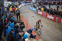 Lars Van der Haar (NLD/Giant-Alpecin) coming through as race leader<br /> <br /> Men's Elite Race<br /> <br /> UCI 2016 cyclocross World Championships,<br /> Zolder, Belgium