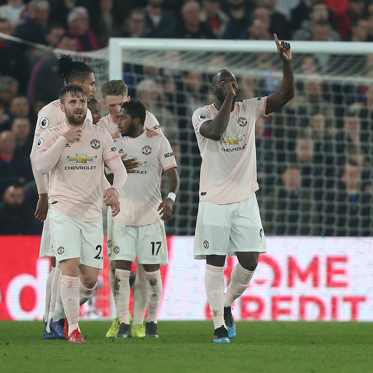 Manchester United's Romelu Lukaku celebrates scoring his side's first goal <br /> <br /> Photographer Rob Newell/CameraSport<br /> <br /> The Premier League - Wednesday 27th February 2019  - Crystal Palace v Manchester United - Selhurst Park - London<br /> <br /> World Copyright © 2019 CameraSport. All rights reserved. 43 Linden Ave. Countesthorpe. Leicester. England. LE8 5PG - Tel: +44 (0) 116 277 4147 - admin@camerasport.com - www.camerasport.com