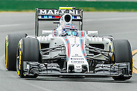 March 18, 2016: Valtteri Bottas (FIN) #77 from the Williams Martini Racing team rounds turn 2 during practise session one at the 2016 Australian Formula One Grand Prix at Albert Park, Melbourne, Australia. Photo Sydney Low