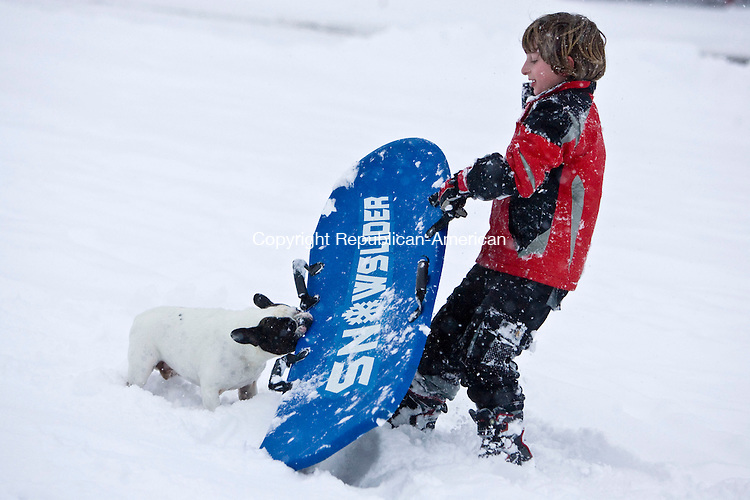 MIDDLEBURY, CT - 16 FEBRUARY 2010 -021610JT02--<br /> HERE IS YOUR WILD ART: Alexander Salvatore, 7, of Southbury, tries to get his sled from the grip of Petey, a local 3-year-old French bulldog, on the hill between Middlebury Town Hall and the Shepardson Community Center in Middlebury on Tuesday.<br /> Josalee Thrift Republican-American