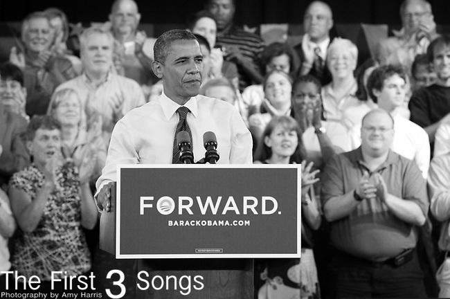 President Barack Obama speaks at his town hall meeting at the Cincinnati Music Hall Ballroom in Cincinnati, Ohio.