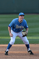 Cody Regis #18 of the UCLA Bruins in the field during a game against the Baylor Bears at Jackie Robinson Stadium on February 25, 2012 in Los Angeles,California. UCLA defeated Baylor 9-3.(Larry Goren/Four Seam Images)
