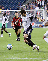 New England Revolution midfielder Marko Perovic (29) approaches Cruzeiro's goal near the end of the first half.  Brazil's Cruzeiro beat the New England Revolution, 3-0 in a friendly match at Gillette Stadium on June 13, 2010