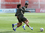 Atletico de Madrid's Joao Felix (l) and Felipe Augusto during training session. September 17,2020.(ALTERPHOTOS/Atletico de Madrid/Pool)