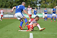 Steve McNulty of Tranmere Rovers tackles Alex Reid of Stevenage during Stevenage vs Tranmere Rovers, Sky Bet EFL League 2 Football at the Lamex Stadium on 4th August 2018