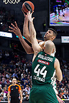 Real Madrid's Walter Tavares and Zalgiris' Antanas Kavaliauskas during Euroligue match between Real Madrid and Zalgiris Kaunas at Wizink Center in Madrid, Spain. April 4, 2019.  (ALTERPHOTOS/Alconada)
