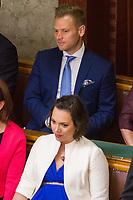 UNGARN, 10.05.2018, Budapest V. Bezirk. Eroeffnungssitzung des neuen Parlaments (4. Kabinett Orb&aacute;n). Unter den VIP-Gaesten Orb&aacute;ns Tochter R&aacute;hel und Schwiegersohn-Oligarch Istv&aacute;n Tiborcz. | Opening session of the new parliament (4th Orban cabinet). Among the VIP guests Orban's doughter Rahel and son-in-law oligarch Istvan Tiborcz. <br /> &copy; Szilard Voros/estost.net