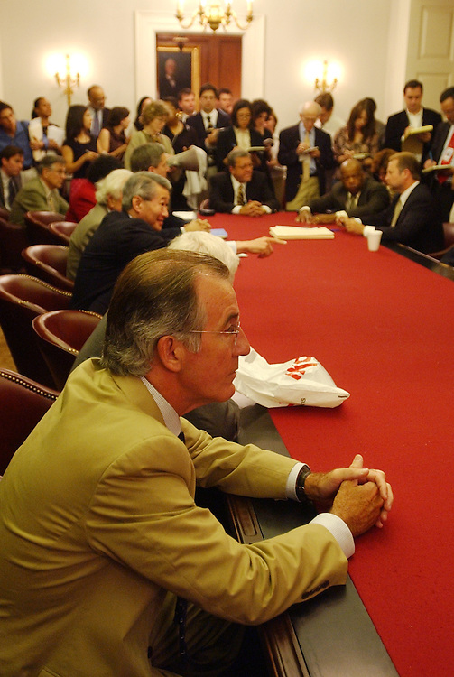 ways1/071803 - Rep. Richard Neal, D-Mass., sits with others house dems., in protest to the pension bill being marked up by House Ways and Means Chariman, Rep. Bill Thomas, R-Calif., in Longworth, Friday.