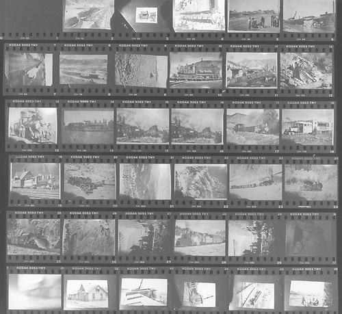 Contact print of 36-picture roll of Kodak 5053 TMY with images of various, mostly unrelated, D&amp;RGW and RGS scenes and equipment.  This likely consists of photos copied by Dorman, perhaps for slide presentations.<br /> D&amp;RGW &amp; RGS