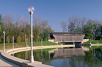 Covered bridge and pool in Mill Race Park in Bloomington, Indiana. Bloomington Indiana.