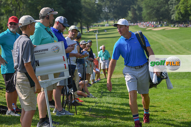 Paul Casey's (GBR) caddie, John McLaren approaches the first tee during 3rd round of the World Golf Championships - Bridgestone Invitational, at the Firestone Country Club, Akron, Ohio. 8/4/2018.<br /> Picture: Golffile | Ken Murray<br /> <br /> <br /> All photo usage must carry mandatory copyright credit (© Golffile | Ken Murray)