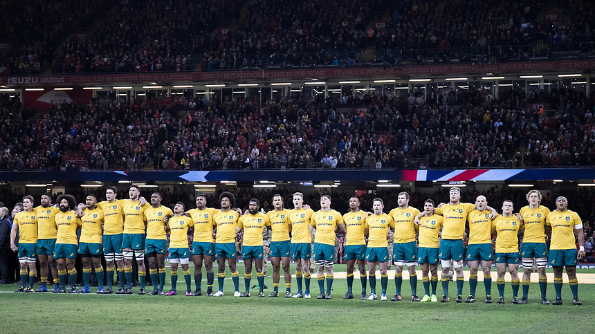 Australia sing the national anthem<br /> <br /> Photographer Simon King/CameraSport<br /> <br /> International Rugby Union - 2017 Under Armour Series Autumn Internationals - Wales v Australia - Saturday 11th November 2017 - Principality Stadium - Cardiff<br /> <br /> World Copyright &copy; 2017 CameraSport. All rights reserved. 43 Linden Ave. Countesthorpe. Leicester. England. LE8 5PG - Tel: +44 (0) 116 277 4147 - admin@camerasport.com - www.camerasport.com