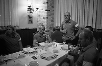 After winning stage 18 of the 2015 Vuelta à Espana, Nicolas Roche's (IRL/SKY) victory is celebrated back at the team hotel as Team SKY principal Sir Dave Brailsford brings a toast.