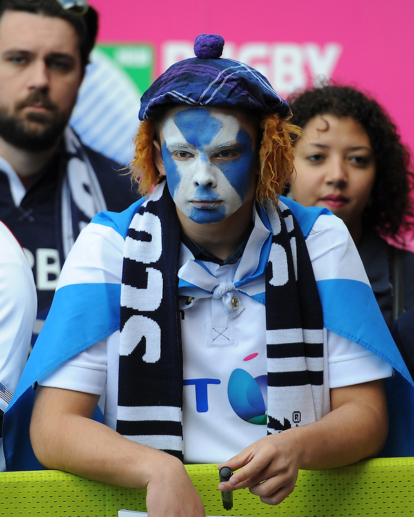 A Scottish fan looks on intensely before Match 18 of the Rugby World Cup 2015 between Scotland and USA - 27/09/2015 - Elland Road, Leeds<br /> Mandatory Credit: Rob Munro/Stewart Communications