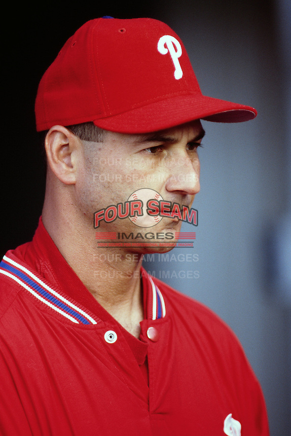 Philadelphia Phillies Manager Terry Francona during a game against the Los Angeles Dodgers at Dodger Stadium circa 1999 in Los Angeles, California. (Larry Goren/Four Seam Images)