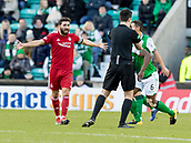 2nd February 2019, Easter Road, Edinburgh, Scotland; Ladbrokes Premiership football, Hibernian versus Aberdeen;Graeme Shinnie of Aberdeen  complains to Referee Don Robertson