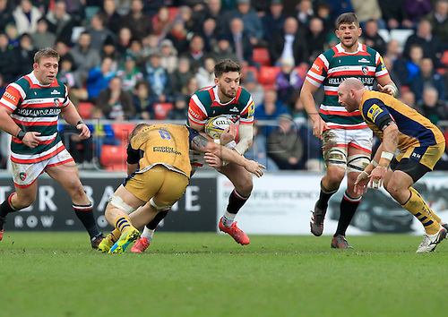 February 18th 2017,  Leicester, England; Aviva Premiership Rugby, Leicester versus Bristol;  Owen Williams in action for Tigers