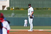 Surprise Saguaros relief pitcher Jackson McClelland (31), of the Toronto Blue Jays organization, looks in for the sign during an Arizona Fall League game against the Peoria Javelinas at Surprise Stadium on October 17, 2018 in Surprise, Arizona. (Zachary Lucy/Four Seam Images)