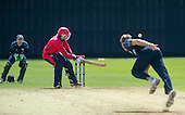 ICC World T20 Qualifier (Warm up match) - Scotland V Jersey at Heriots CC, Edinburgh - Jersey bat Charles Pechard tries to scoop the ball away off Scotland bowler Josh Davey — credit @ICC/Donald MacLeod - 06.7.15 - 07702 319 738 -clanmacleod@btinternet.com - www.donald-macleod.com