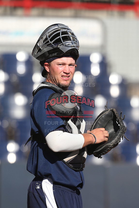A. J. Kennedy (5) of the Tri-City Dust Devils before a game against the Vancouver Canadians at Nat Bailey Stadium on July 23, 2015 in Vancouver, British Columbia. Tri-City defeated Vancouver, 6-4. (Larry Goren/Four Seam Images)
