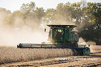 63801-07315 Soybean harvest with John Deere combine in Marion Co. IL