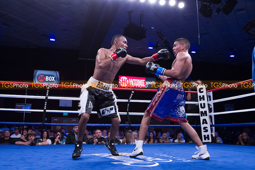 Roman Morales defeats Alexis Santiago in a Super Bantamweight boxing contest promoted by ShoBox, The New Generation, at the Chumash Casino Resort, California - 20/07/12 - Dwight McCann/TGSPHOTO - Self billing applies where appropriate - 0845 094 6026 - contact@tgsphoto.co.uk - NO UNPAID USE.