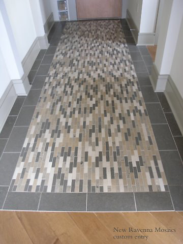Custom hall rug in Montevideo, Jura Grey, Jura Beige, Gascogne Blue, and St. Vincent bricks.