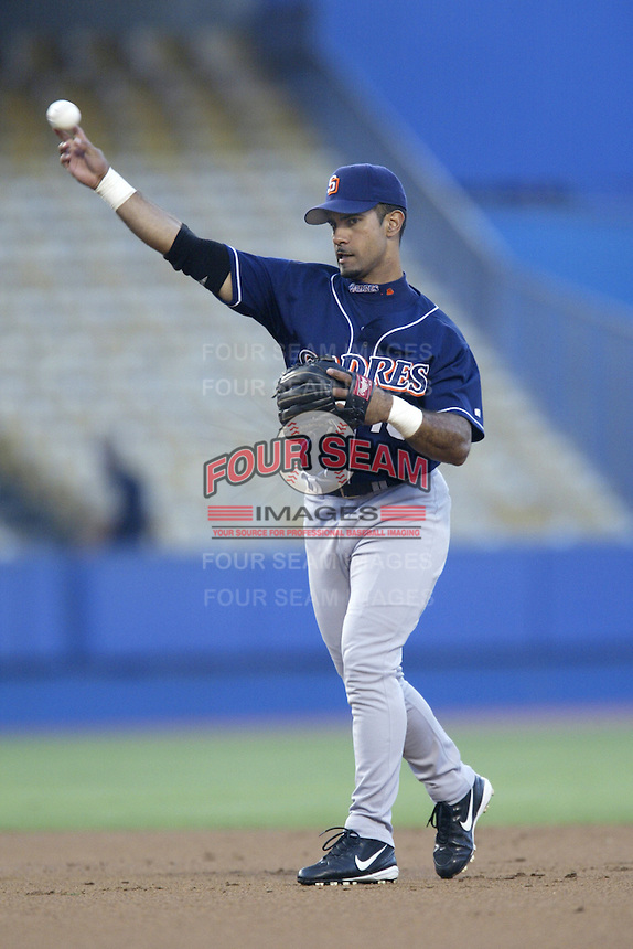 Julius Matos of the San Diego Padres makes a throw during a 2002 MLB season game against the Los Angeles Dodgers at Dodger Stadium, in Los Angeles, California. (Larry Goren/Four Seam Images)