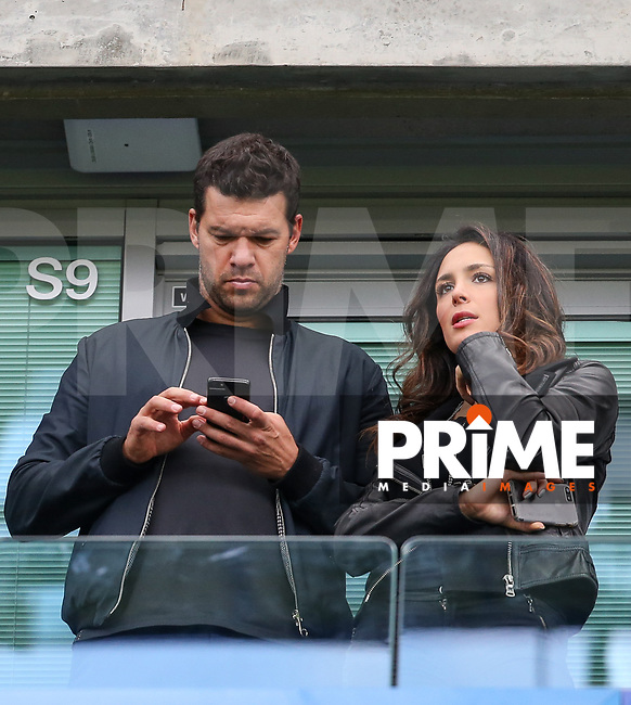 former Chelsea & Germany footballer Michael Ballack watches the match with girlfriend Natacha Tannous during the EPL Premier League match between Chelsea and Manchester City at Stamford Bridge, London, England on 30 September 2017. Photo by Andy Rowland.