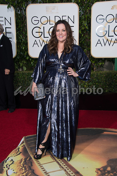 Melissa McCarthy, Golden Globe nominee for BEST PERFORMANCE BY AN ACTRESS IN A MOTION PICTURE &ndash; COMEDY OR MUSICAL for her role in &quot;Spy,&quot; arrives at the 73rd Annual Golden Globe Awards at the Beverly Hilton in Beverly Hills, CA on Sunday, January 10, 2016.<br /> Photo Credit: HFPA/AdMedia